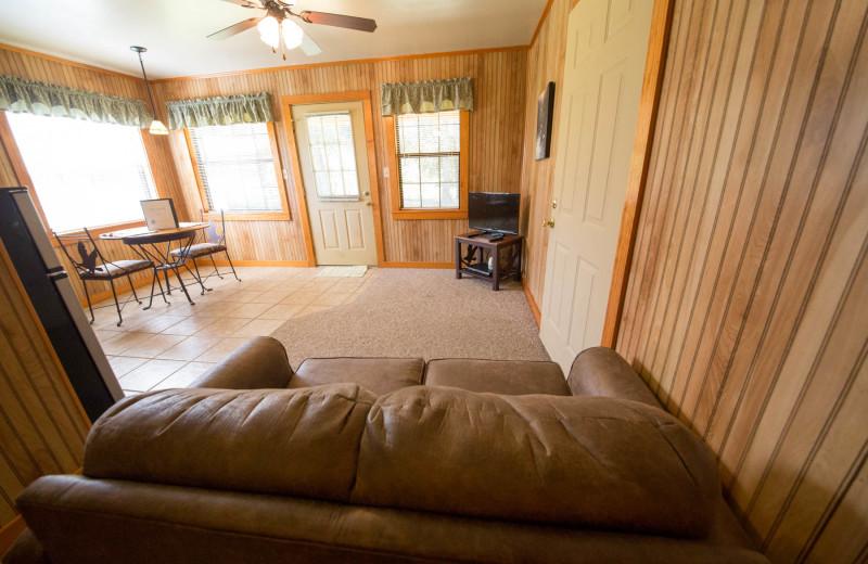 Cabin living room at Long Lake Resort.