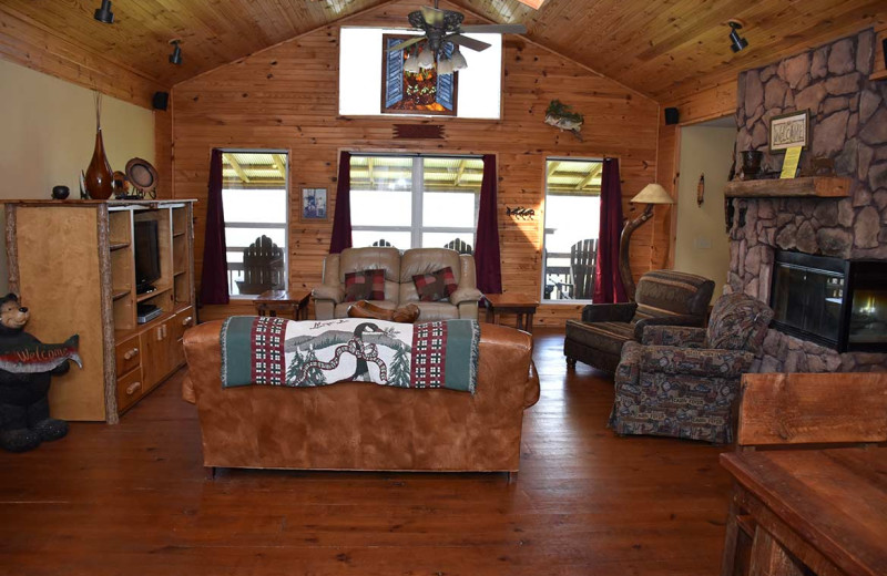 Cabin living room at Can-U-Canoe Riverview Cabins.
