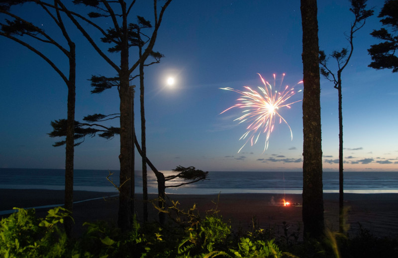 Beach fireworks at Seabrook Cottage Rentals.