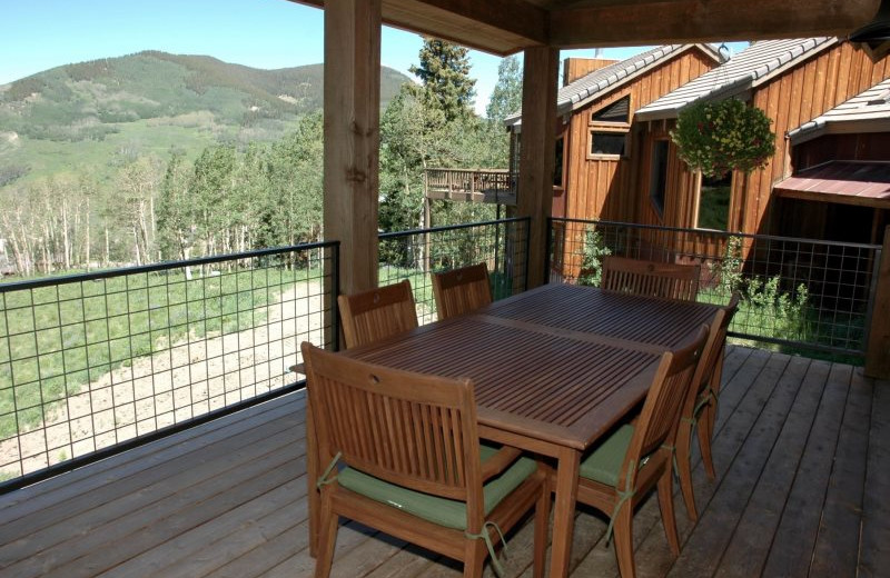 Rental deck at Alpine Getaways.