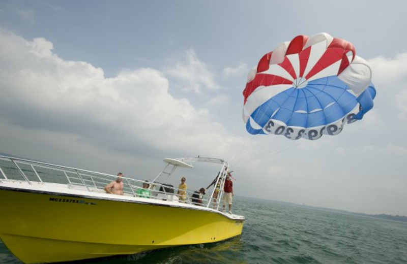 Boating activities at ParkShore Resort.