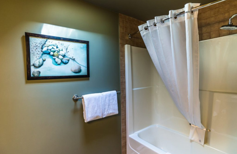 Guest bathroom at Sooke Harbour Resort & Marina.