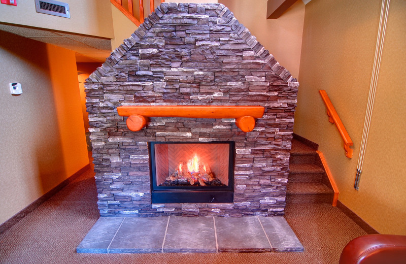 Guest fireplace at Banff Caribou Lodge & Spa.