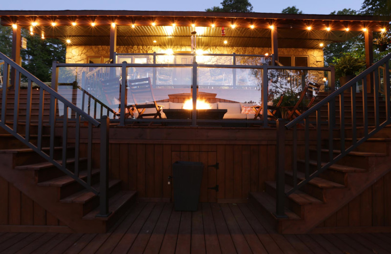 A view of the deck and hot tub in the evening, so romantic!