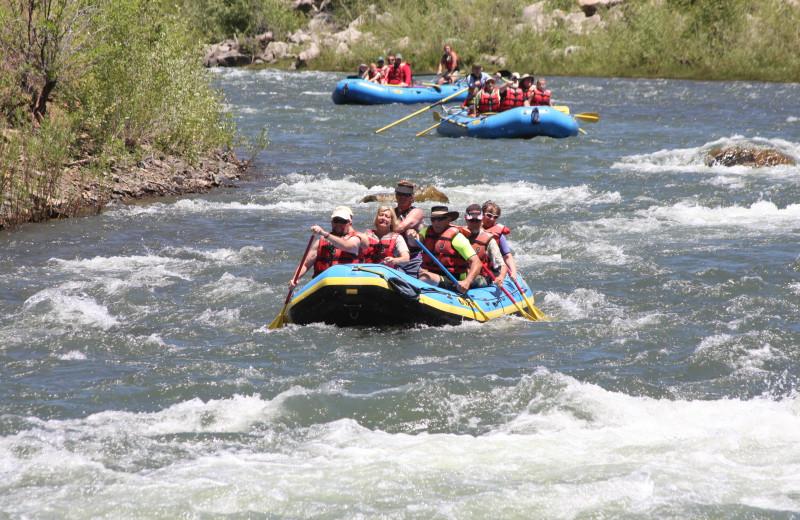River rafting near Echo Basin Cabin And RV Resort.