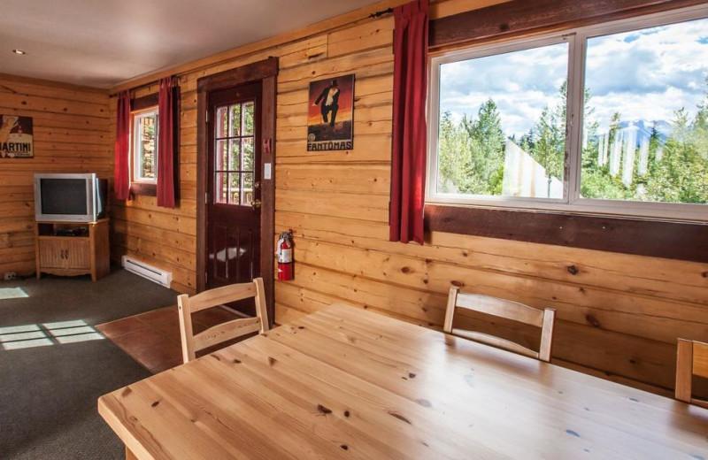Cabin interior at Glacier House Resort.