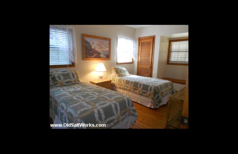 Cabin bedroom at Old Saltworks Cabins.