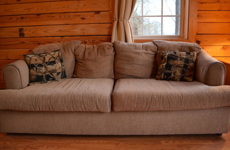 Cabin couch at Yogi on the Lake.
