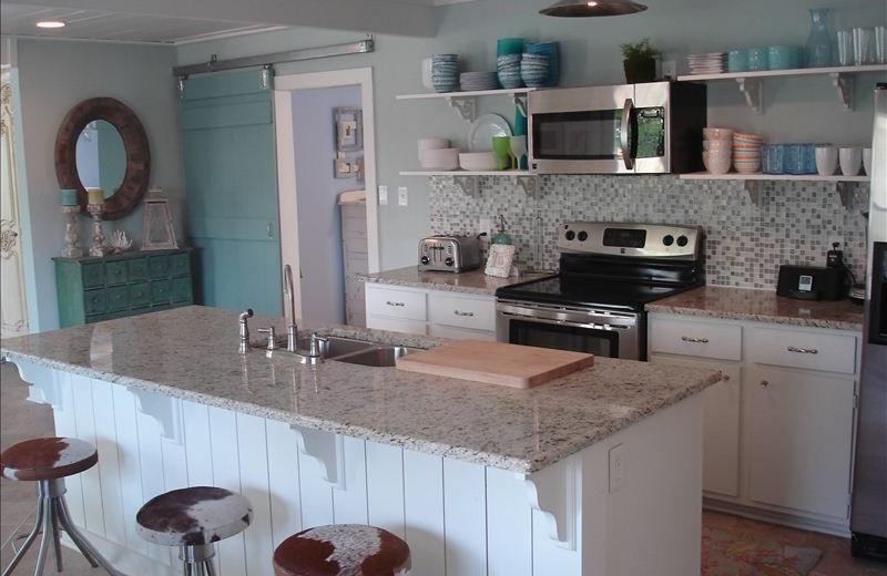 Kitchen at Turtle Rock Cottage on Lake LBJ.