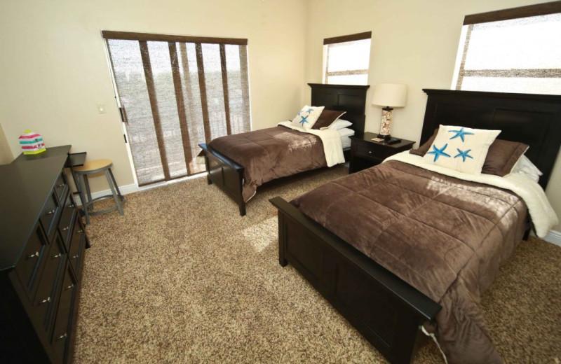 Rental bedroom at Plumlee Gulf Beach Realty.