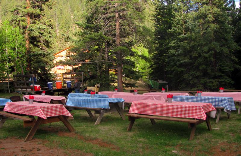 Picnic area at Tumbling River Ranch.