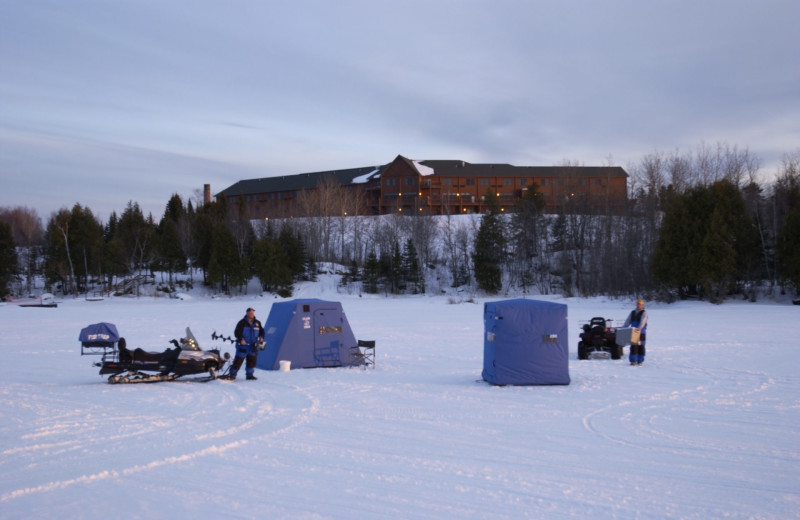 Ice fishing at Grand Ely Lodge.