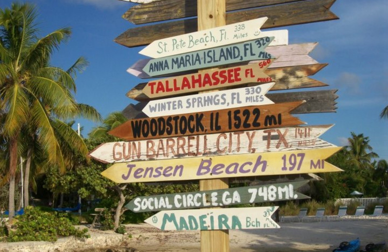 Resort beach signs at Coral Bay Resort.