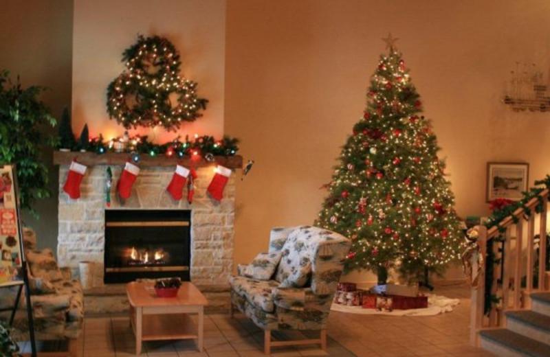 Holiday decorations at Birchwood Lodge.