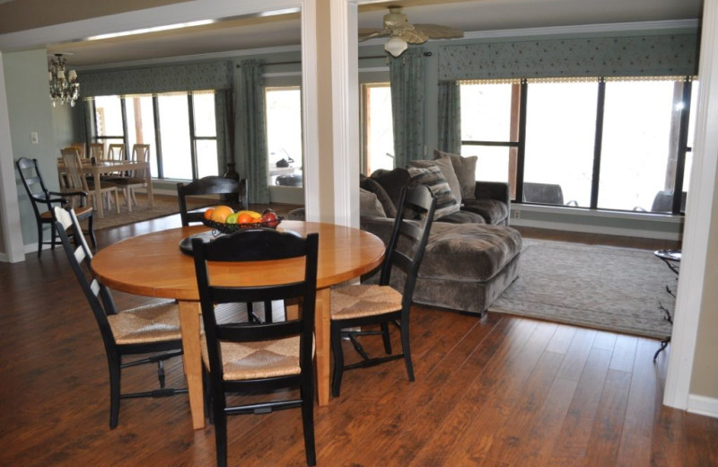 Rental dining area at Lake LBJ Legacy Lakehouse.