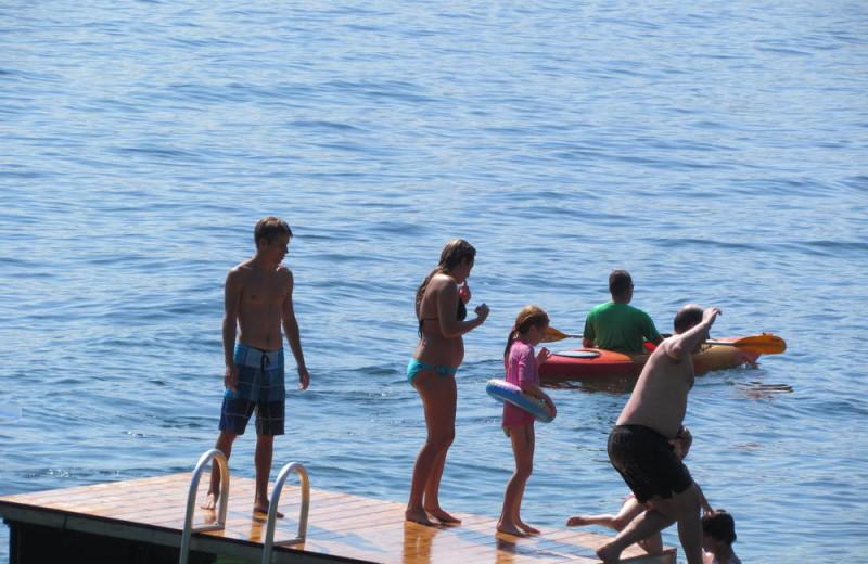 Family swimming at The Depe Dene Resort.