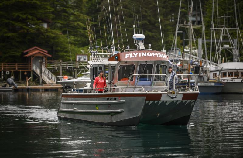Fishing boat at Elfin Cove Resort.