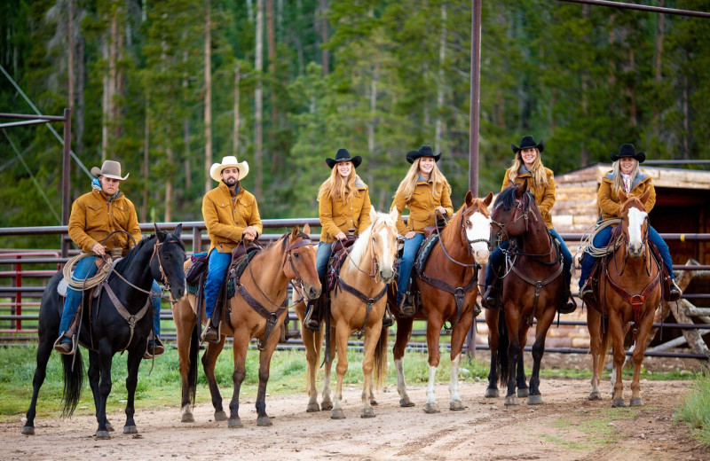 Group horseback riding at Rawah Guest Ranch.