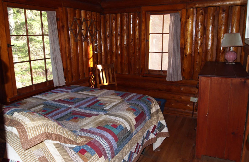 Cabin bedroom at Heston's Lodge.