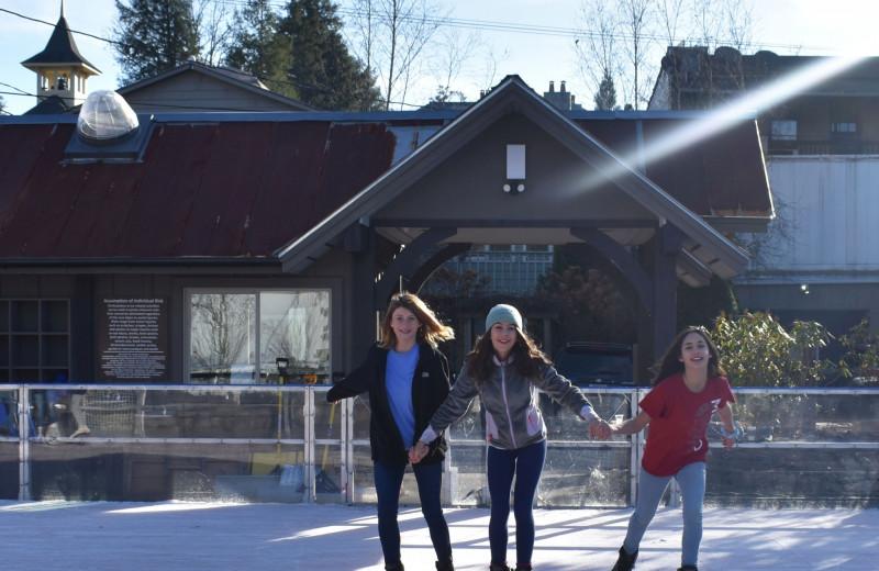 Ice skating at Chambers Realty & Vacation Rentals.