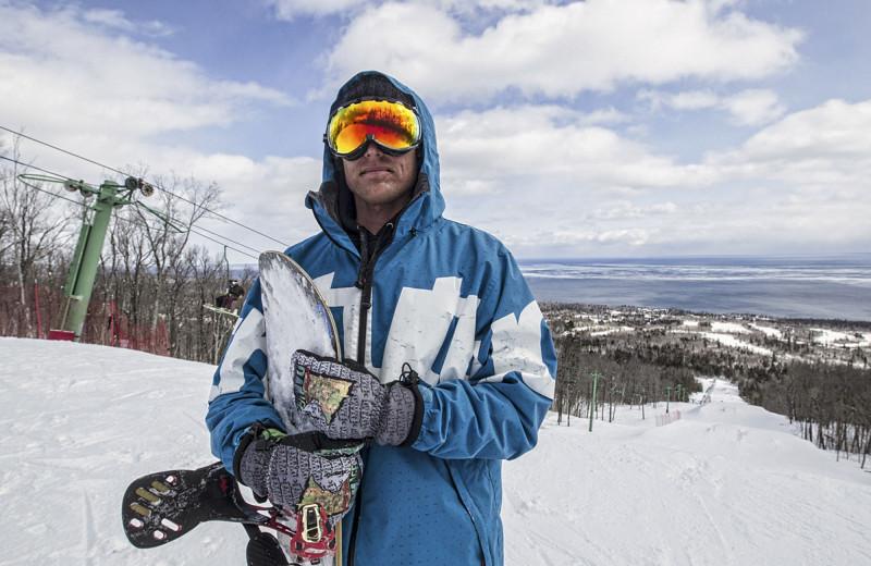 Snowboarding at Lutsen Resort on Lake Superior.