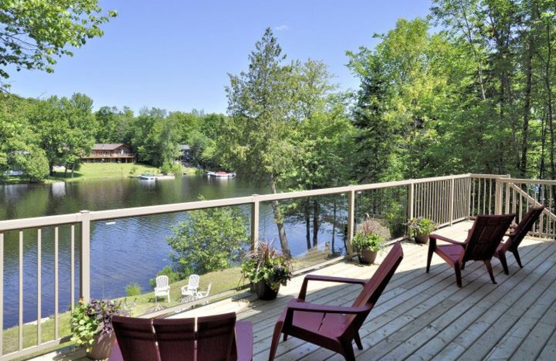 Cottage balcony view at All-Season Cottage Rentals.