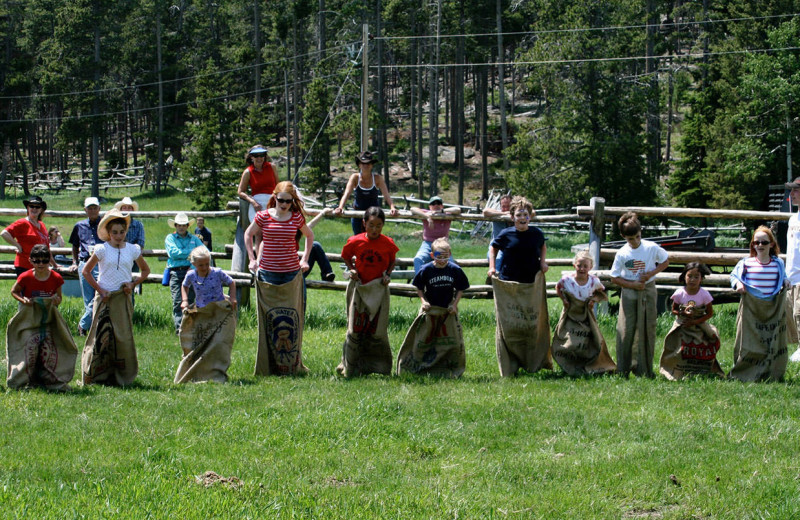 Sack race at Paradise Guest Ranch.
