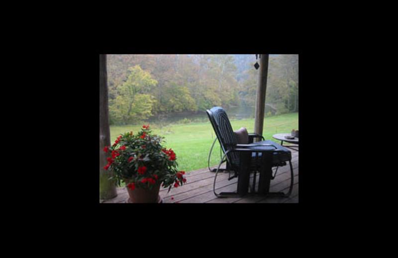 Cabin porch at Bare Farm Cabin.