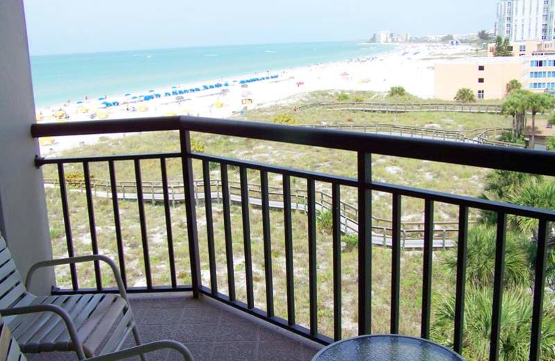 Rental balcony view at Gulf Strand Resort.