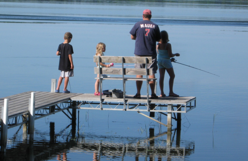Dock fishing with Dad at Two Inlets Resort.