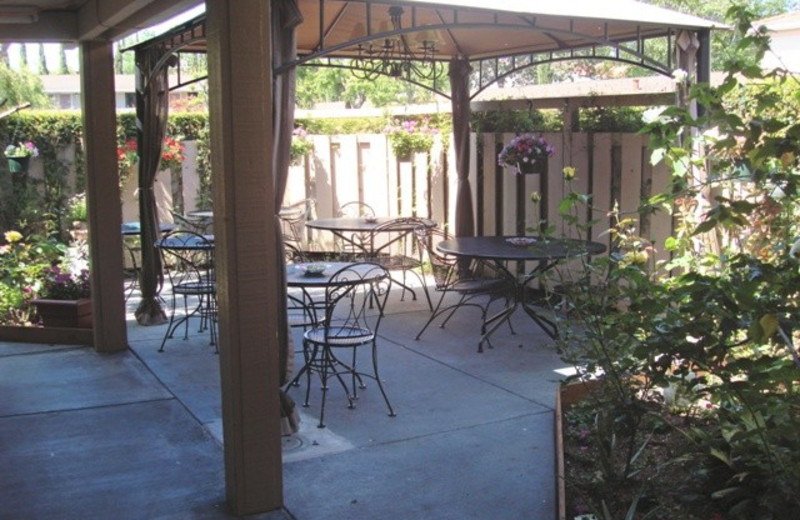 Patio view at Pacific Inn of Redwood City.
