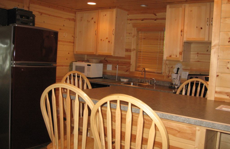 Rental kitchen at Northwoods Vacation Lodgings.