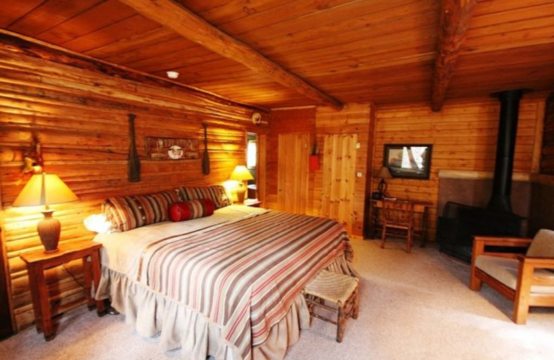 Cabin guest room at Wind River Ranch.