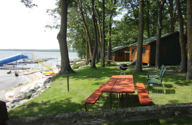 Lakeside cabins at Acorn Hill Resort.