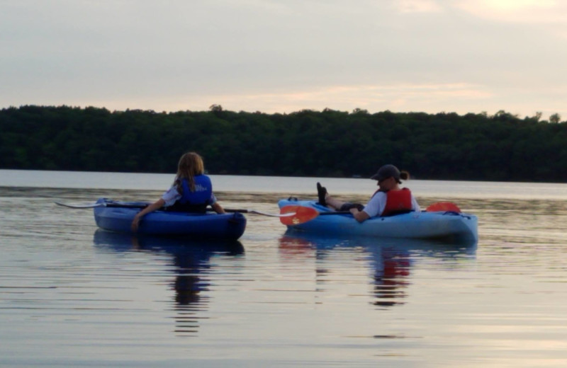 Kayaking at Whispering Waters Resort.