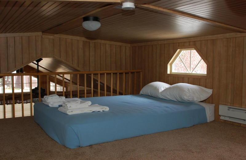 Cabin loft at Three Rivers Resort.
