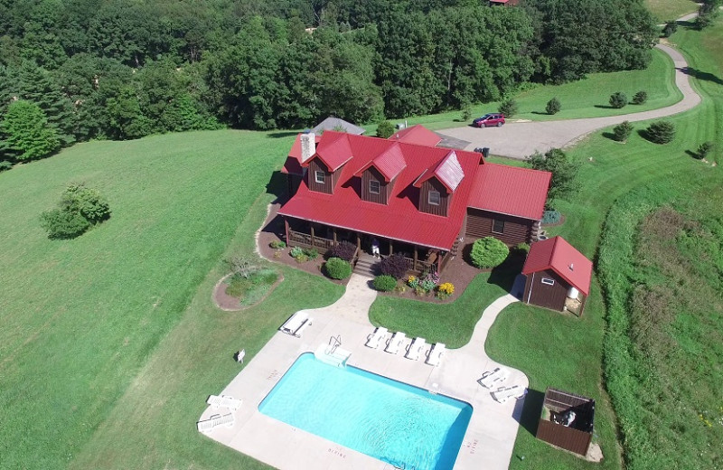 Aerial view of Old Man's Cave Chalets.