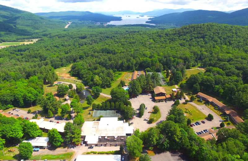 Aerial view of Roaring Brook Ranch Resort.