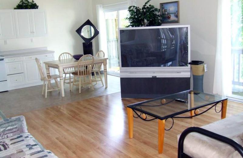 Cabin living room at Buzzard Rock Resort and Marina.
