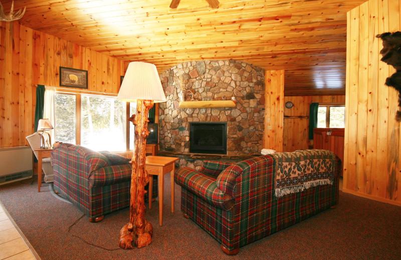 Cabin living room at Gunflint Lodge.
