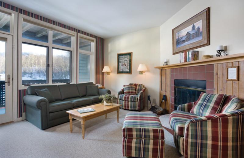 Rental living room at Smugglers' Notch Resort.