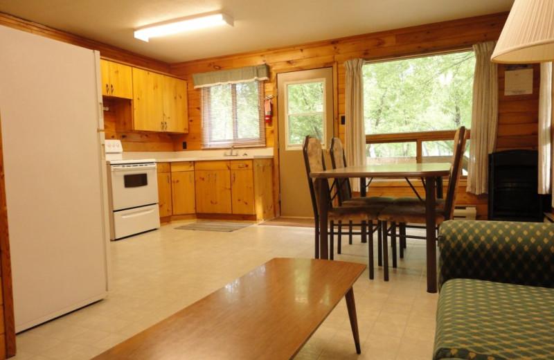Cabin kitchen at Rainbow Point Lodge.