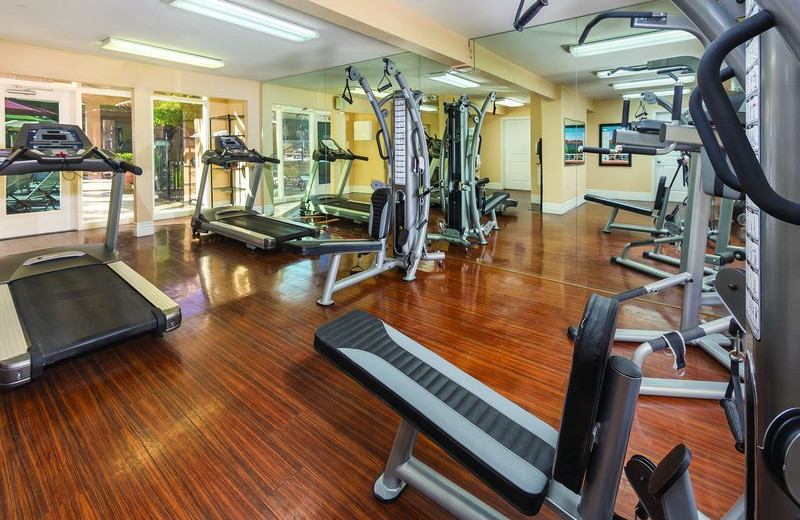 Fitness center at Desert Rose Resort.