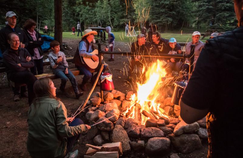 Bonfire at Tumbling River Ranch.