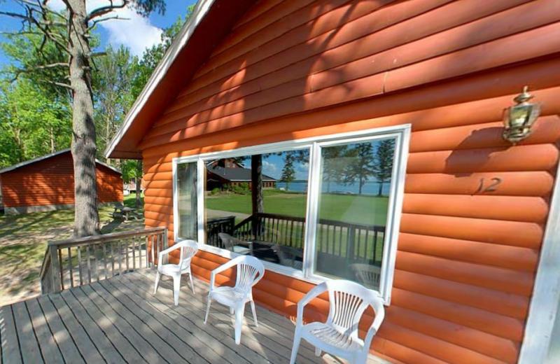 Cabin deck at Hiawatha Beach Resort.