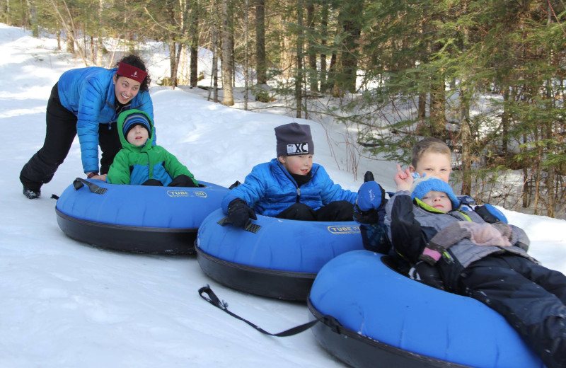 Sledding at YMCA Camp Du Nord.