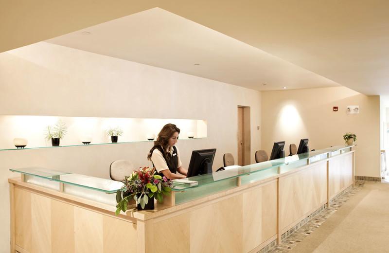 Spa desk at Topnotch Resort.