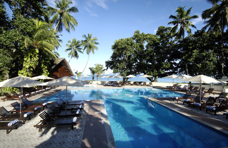 Outdoor pool at Berjaya Mahe Beach Resort.