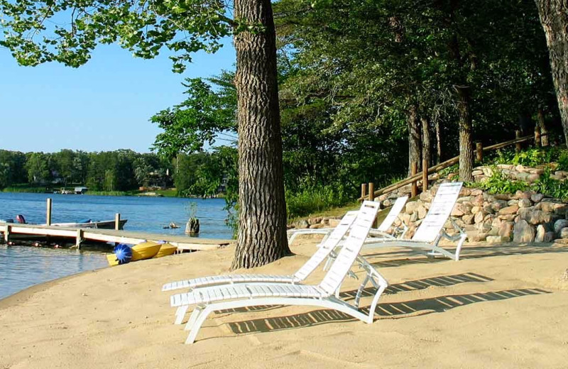 Beach at Breezy Point Resort on Straight Lake.