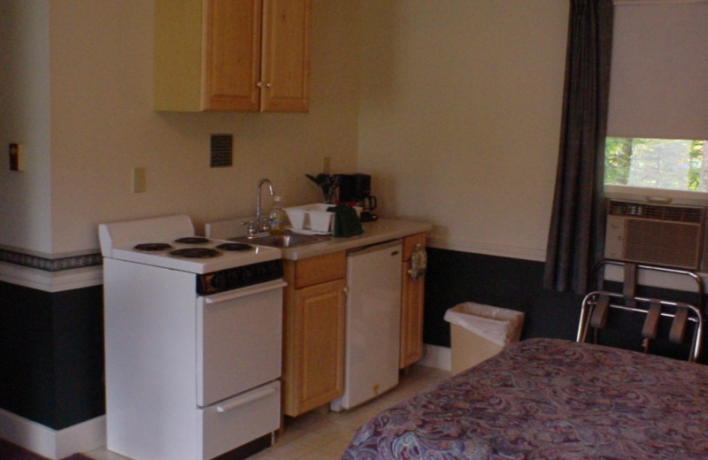 Room kitchenette at Highland Lake Resort.